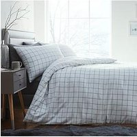 Product photograph showing Silentnight Contemporary Check Brushed Cotton Duvet Cover Set - White