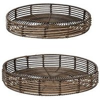 Product photograph showing Nile Rattan-style Trays - Set Of 2
