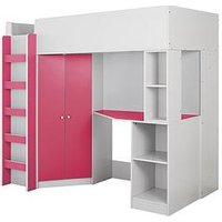 Product photograph showing Miami Fresh High Sleeper Bed With Desk Wardrobe And Shelves - Pink - High Sleeper Only
