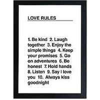 Product photograph showing East End Prints Love Rules By Native State A3 Wall Art