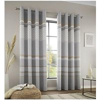 Product photograph showing Catherine Lansfield Malawa Geo Eyelet Curtains