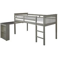 Product photograph showing Novara Mid Sleeper With Pull Out Desk - Grey - Bed Frame With Premium Mattress