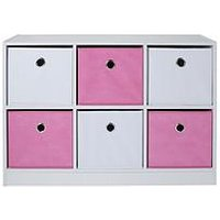Product photograph showing Lloyd Pascal 6 Cube Storage Unit Pink White