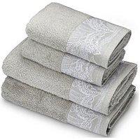 Product photograph showing Accessorize Mozambique 4-piece Towel Bale - Grey