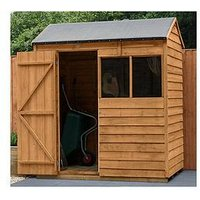 Product photograph showing Forest 6x4 Value Dip Treated Overlap Reverse Apex Shed - Shed Only
