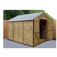 Product photograph showing Forest 10x8 Overlap Pressure Treated Apex Workshop Shed With Double Doors - Shed With Assembly