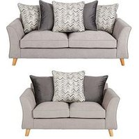 Product photograph showing Legato Fabric 3 Seater 2 Seater Scatter Back Sofa Set Buy And Save
