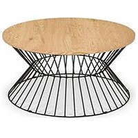Product photograph showing Julian Bowen Jersey Round Wire Coffee Table - Oak Effect Black Metal