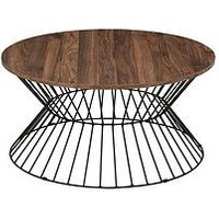Product photograph showing Julian Bowen Jersey Round Wire Coffee Table - Walnut Effect Black Metal