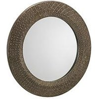 Product photograph showing Julian Bowen Cadence Small Round Pewter Wall Mirror