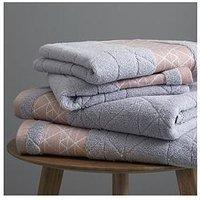 Product photograph showing Catherine Lansfield Linear Diamond Towel Range Ndash Blush Grey