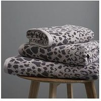 Product photograph showing Catherine Lansfield Leopard 2 X Hand Towel