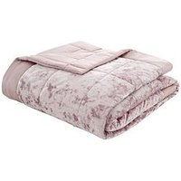 Product photograph showing Catherine Lansfield Crushed Velvet Bedspread Throw - Pink