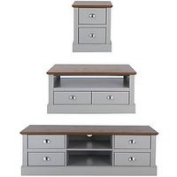 Product photograph showing Crawford 3 Piece Package - Tv Unit Coffee Table And Lamp Table - Grey Dark Oak Effect