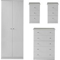 Product photograph showing Swift Dakota Ready Assembled 4 Piece Package - 2 Door Wardrobe 5 Drawer Chest And 2 Bedside Chests