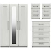 Product photograph showing Regal Package - Part Assembled 3 Door Mirrored Wardrobe 5 Drawer Chest And 2 Bedside Chests
