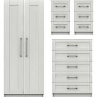 Product photograph showing Regal Ready Assembled Package - 2 Door Wardrobe 5 Drawer Chest And 2 Bedside Chests