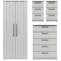 Product photograph showing Taylor Ready Assembled 4 Piece Package - 2 Door Wardrobe 5 Drawer Chest And 2 Bedside Chests