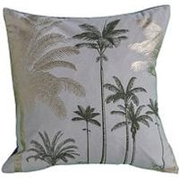 Product photograph showing Gallery Palm Trees Metallic Cushion - Grey