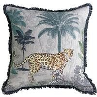 Product photograph showing Gallery Leopard Fringed Cushion