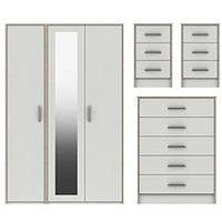 Product photograph showing Brianne Part Assembled 4 Piece Package - 3 Door Mirrored Wardrobe 5 Drawer Chest And 2 Bedside Chests