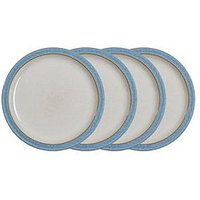 Product photograph showing Denby Elements Blue Dinner Plates Ndash Set Of 4