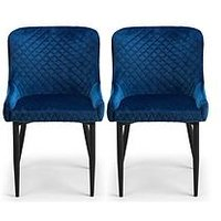 Product photograph showing Julian Bowen Pair Of Luxe Velvet Dining Chairs - Blue