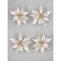 Product photograph showing Set Of 4 Pink Champagne Poinsettia Christmas Tree Clips