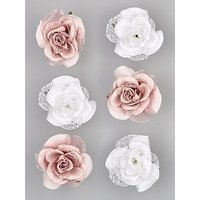 Product photograph showing Set Of 6 Clip-on Roses Ndash Dusky Pink White