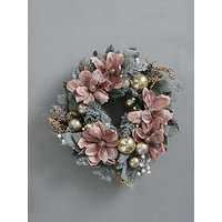 Product photograph showing Frosted Rose Pre-lit Magnolia Wreath