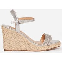 Dorothy Perkins Wide Fit Raaraa Embellished Wedged Shoe - Grey