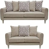 Product photograph showing Mylo Fabric 3 Seater 2 Seater Scatter Back Sofa Set Buy And Save
