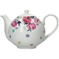 Product photograph showing Kitchencraft Mikasa Clovelly Pink Floral Spot Tea Pot