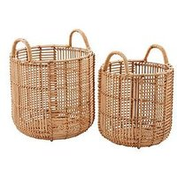 Product photograph showing Set Of 2 Straight Weave Rattan Baskets