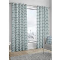 Product photograph showing Fusion Delft Lined Eyelet Curtains