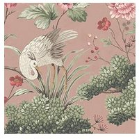 Product photograph showing Woodchip Magnolia Crane Bird Vintage Pink Wallpaper