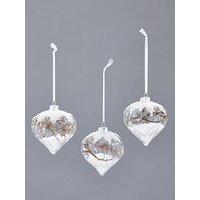 Product photograph showing Set Of 3 Glass Onion Tree Decs