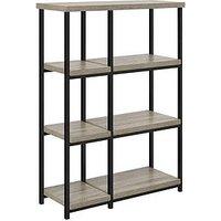 Product photograph showing Elmwood Bookcase - Grey Oak Effect
