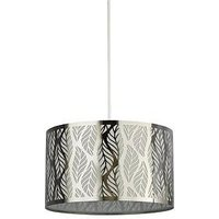 Product photograph showing Laser Cut Leaf Metal Light Shade - Silver