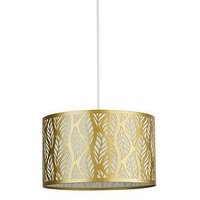 Product photograph showing Laser Cut Leaf Metal Light Shade - Gold