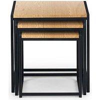 Product photograph showing Julian Bowen Tribeca Nest Of 3 Tables - Oak Effect