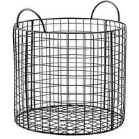 Product photograph showing Large Black Wire Round Storage Basket