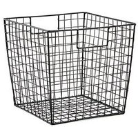 Product photograph showing Large Black Wire Square Storage Basket