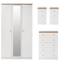 Product photograph showing Swift Naples Part Assembled 4 Piece Package - 3 Door Mirrored Wardrobe 5 Drawer Chest And 2 Bedside Chests