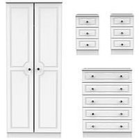 Product photograph showing Swift Clarence 4 Piece Ready Assembled Package - 2 Door Wardrobe 5 Drawer Chest And 2 Bedside Chests
