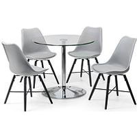 Product photograph showing Julian Bowen Kudos 80 Cm Round Dining Table And 4 Kari Chairs