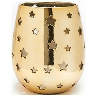 Product photograph showing Gold Star Cut Out Hurricane Candle Holder