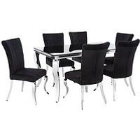 Product photograph showing Grace Rectangle Dining Table With 6 Chairs