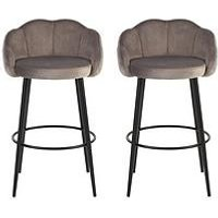 Product photograph showing Michelle Keegan Home Pair Of Angel Scallop Bar Stools - Grey Velvet