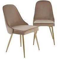 Product photograph showing Pair Of Ivy Velvet Dining Chairs - Taupe Brass